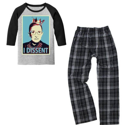 I Dissent Ruth Bader Ginsburg Youth 3/4 Sleeve Pajama Set Designed By Tht