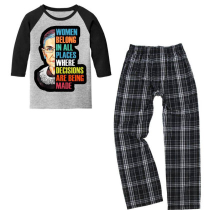 Notorious Rbg Queen Youth 3/4 Sleeve Pajama Set Designed By Tht
