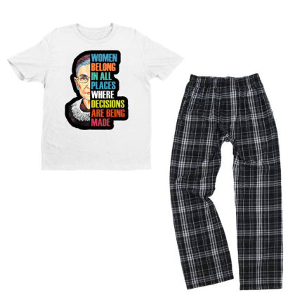 Notorious Rbg Queen Youth T-shirt Pajama Set Designed By Tht