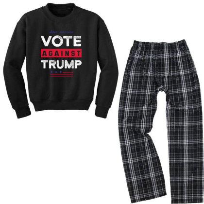 Against Trump Save America - Political Gift Idea Youth Sweatshirt Pajama Set Designed By Diogo Calheiros