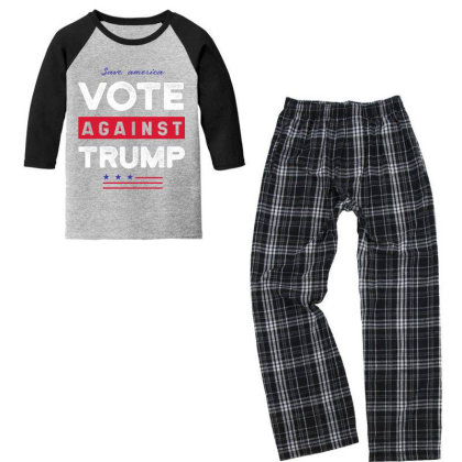 Against Trump Save America - Political Gift Idea Youth 3/4 Sleeve Pajama Set Designed By Diogo Calheiros