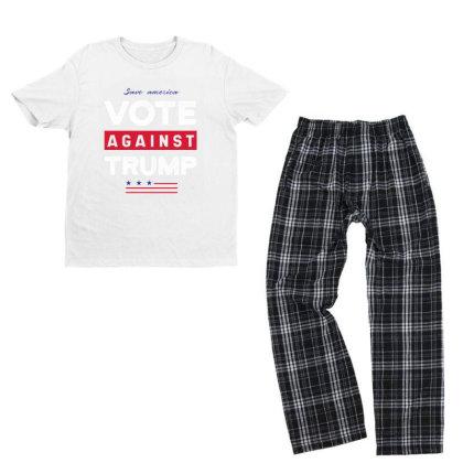 Against Trump Save America - Political Gift Idea Youth T-shirt Pajama Set Designed By Diogo Calheiros