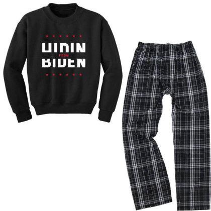 Hiding From Biden - Political Gift Idea Youth Sweatshirt Pajama Set Designed By Diogo Calheiros