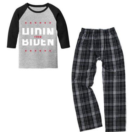 Hiding From Biden - Political Gift Idea Youth 3/4 Sleeve Pajama Set Designed By Diogo Calheiros