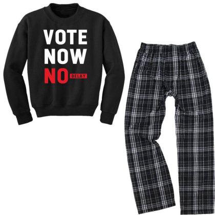 Vote Now No Delay - Political Gift Idea Youth Sweatshirt Pajama Set Designed By Diogo Calheiros
