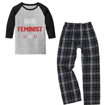 Raging Feminist Dad - Political Gift Idea Youth 3/4 Sleeve Pajama Set Designed By Diogo Calheiros