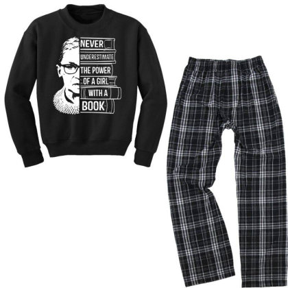 Girl With A Book Ruth Bader Ginsburg Youth Sweatshirt Pajama Set Designed By Tht