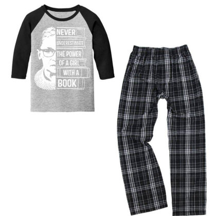 Girl With A Book Ruth Bader Ginsburg Youth 3/4 Sleeve Pajama Set Designed By Tht