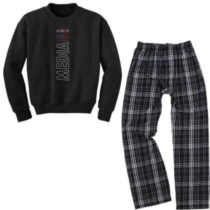 Defund The Media - Political Gift Idea Youth Sweatshirt Pajama Set Designed By Diogo Calheiros