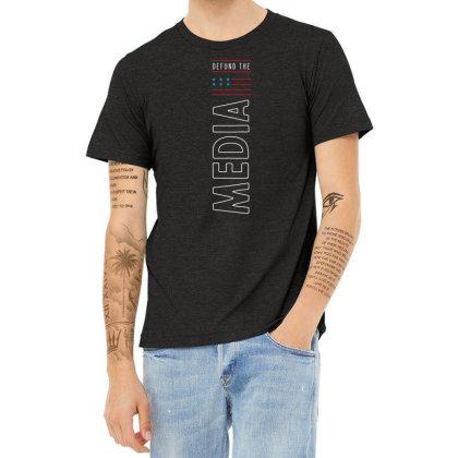 Defund The Media - Political Gift Idea Heather T-shirt Designed By Diogo Calheiros