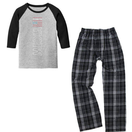 Defund The Media - Political Gift Idea Youth 3/4 Sleeve Pajama Set Designed By Diogo Calheiros