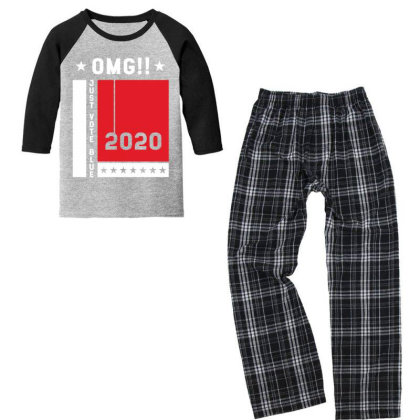 Just Vote Blue - Political Gift Idea Youth 3/4 Sleeve Pajama Set Designed By Diogo Calheiros