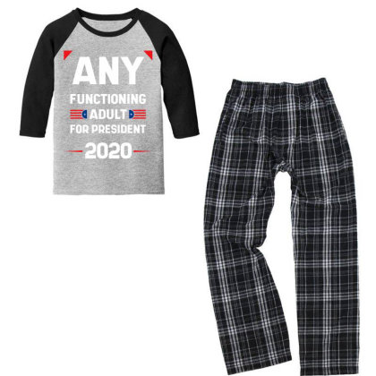 Any Functioning Adult - Political Gift Idea Youth 3/4 Sleeve Pajama Set Designed By Diogo Calheiros