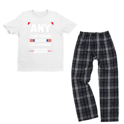 Any Functioning Adult - Political Gift Idea Youth T-shirt Pajama Set Designed By Diogo Calheiros