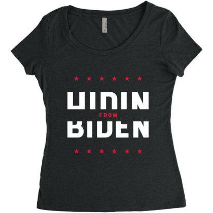 Hiding From Biden - Political Gift Idea Women's Triblend Scoop T-shirt Designed By Diogo Calheiros