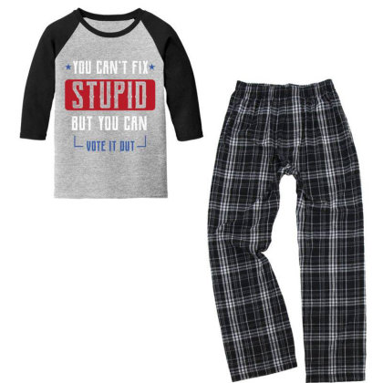 Fix Stupid But You Can Vote It Out - Political Gift Idea Youth 3/4 Sleeve Pajama Set Designed By Diogo Calheiros