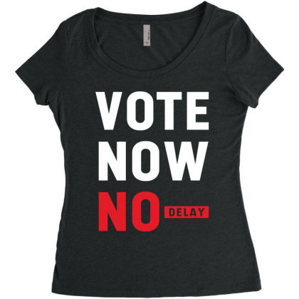 Vote Now No Delay - Political Gift Idea Women's Triblend Scoop T-shirt Designed By Diogo Calheiros