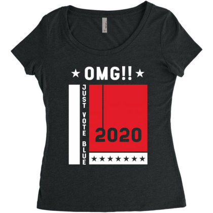 Just Vote Blue - Political Gift Idea Women's Triblend Scoop T-shirt Designed By Diogo Calheiros