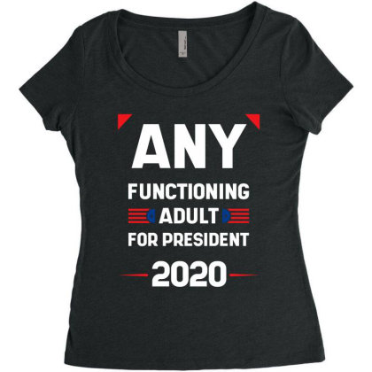 Any Functioning Adult - Political Gift Idea Women's Triblend Scoop T-shirt Designed By Diogo Calheiros