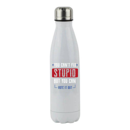 Fix Stupid But You Can Vote It Out - Political Gift Idea Stainless Steel Water Bottle Designed By Diogo Calheiros