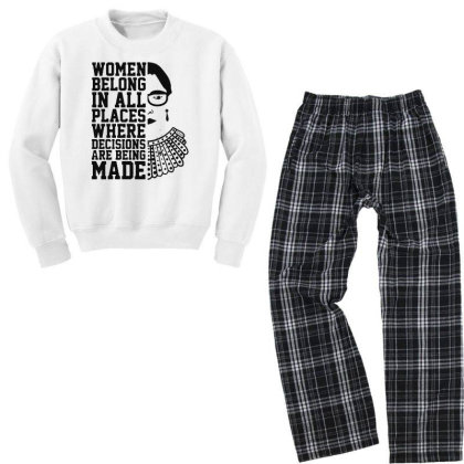 Notorious  Ruth Bader Ginsburg Youth Sweatshirt Pajama Set Designed By Tht