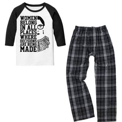Notorious  Ruth Bader Ginsburg Youth 3/4 Sleeve Pajama Set Designed By Tht