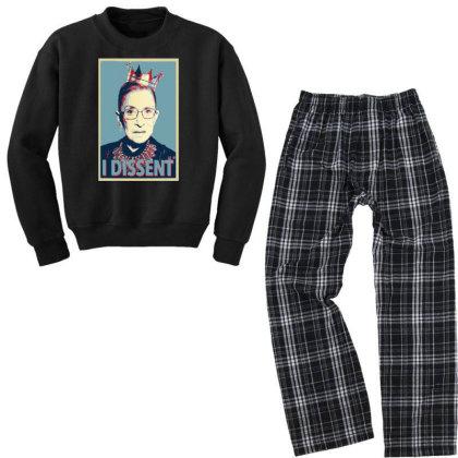 Notorious Rbg   I Dissent Youth Sweatshirt Pajama Set Designed By Tht