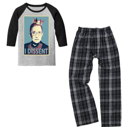 Notorious Rbg   I Dissent Youth 3/4 Sleeve Pajama Set Designed By Tht