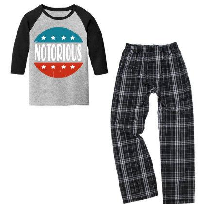 Notorious Rbg  Vintage Youth 3/4 Sleeve Pajama Set Designed By Tht