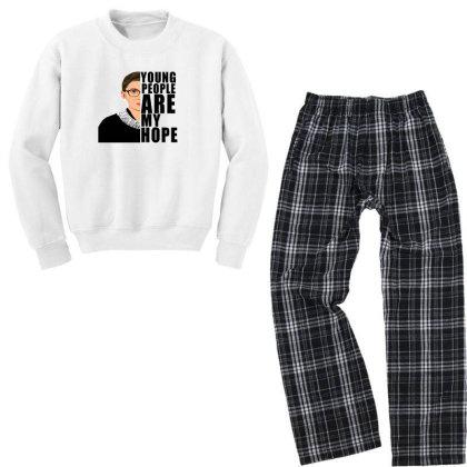 Ruth Bader Ginsburg Young People Are My Hope Youth Sweatshirt Pajama Set Designed By Alparslan Acar