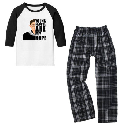 Ruth Bader Ginsburg Young People Are My Hope Youth 3/4 Sleeve Pajama Set Designed By Alparslan Acar