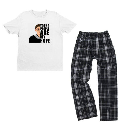 Ruth Bader Ginsburg Young People Are My Hope Youth T-shirt Pajama Set Designed By Alparslan Acar
