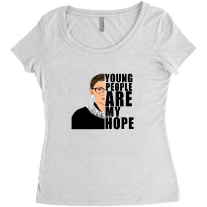 Ruth Bader Ginsburg Young People Are My Hope Women's Triblend Scoop T-shirt Designed By Alparslan Acar
