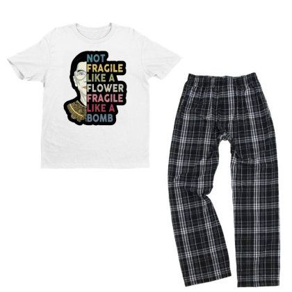 Not Fragile Like A Flower But A Bomb Ruth Ginsburg Rbg Youth T-shirt Pajama Set Designed By Tht