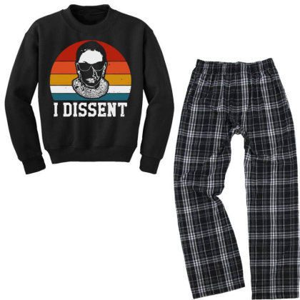 I Dissent Rbg Ruth Bader Ginsburg Youth Sweatshirt Pajama Set Designed By Tht