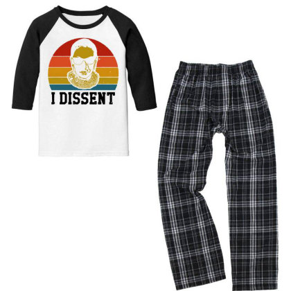I Dissent Rbg Ruth Bader Ginsburg Youth 3/4 Sleeve Pajama Set Designed By Tht