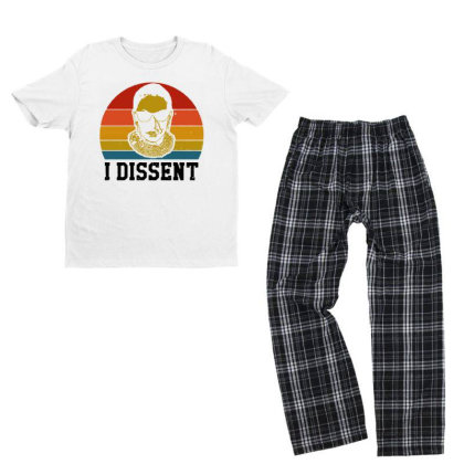 I Dissent Rbg Ruth Bader Ginsburg Youth T-shirt Pajama Set Designed By Tht