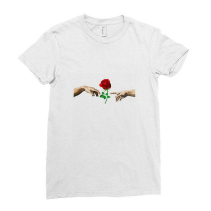 Hand Rose Ladies Fitted T-shirt Designed By Alparslan Acar
