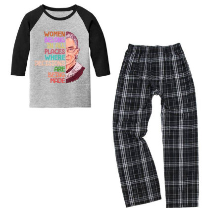 Feminist Ruth Bader Ginsburg Quote Women Belong Gift Youth 3/4 Sleeve Pajama Set Designed By Conco335@gmail.com