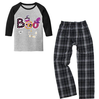 Boo Halloween Costume Spiders, Ghosts, Pumkin & Witch Hat Youth 3/4 Sleeve Pajama Set Designed By Conco335@gmail.com