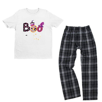 Boo Halloween Costume Spiders, Ghosts, Pumkin & Witch Hat Youth T-shirt Pajama Set Designed By Conco335@gmail.com