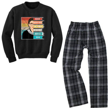 Never Underestimate The Power Of A Girl With Book Rbg Youth Sweatshirt Pajama Set Designed By Conco335@gmail.com