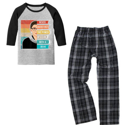 Never Underestimate The Power Of A Girl With Book Rbg Youth 3/4 Sleeve Pajama Set Designed By Conco335@gmail.com