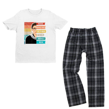Never Underestimate The Power Of A Girl With Book Rbg Youth T-shirt Pajama Set Designed By Conco335@gmail.com