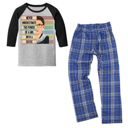 Feminist Ruth Bader Ginsburg Rbg Quote Girl With Book Women T Shirt Youth 3/4 Sleeve Pajama Set Designed By Schulz-12