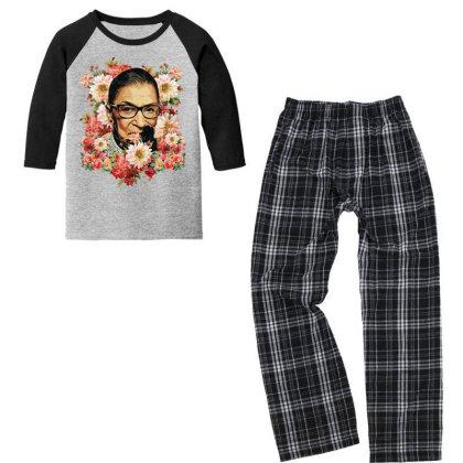 Ruth Bader Ginsburg Notorious Rbg Flower Youth 3/4 Sleeve Pajama Set Designed By Sengul