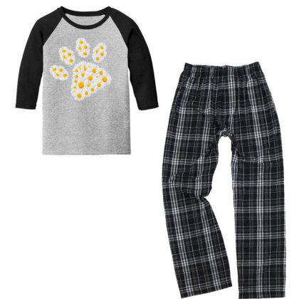 Daisy Flower Paw Youth 3/4 Sleeve Pajama Set Designed By Sengul