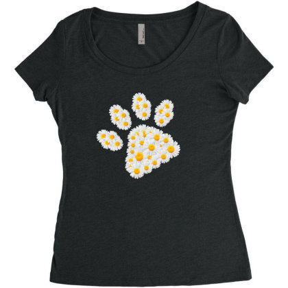 Daisy Flower Paw Women's Triblend Scoop T-shirt Designed By Sengul