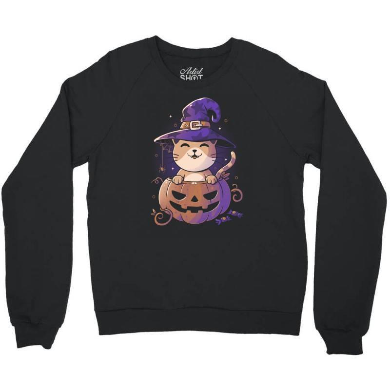 Spooky Kitty Funny Cute Magic Halloween Crewneck Sweatshirt | Artistshot