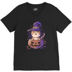 Spooky Kitty Funny Cute Magic Halloween V-Neck Tee | Artistshot